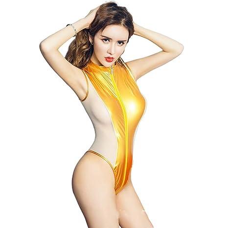 fe0935cd8d2 XSQR Sexy Women PU Shiny High Cut Bodysuit Thong Zipper Open Crotch High  Neck Halter Swimsuit