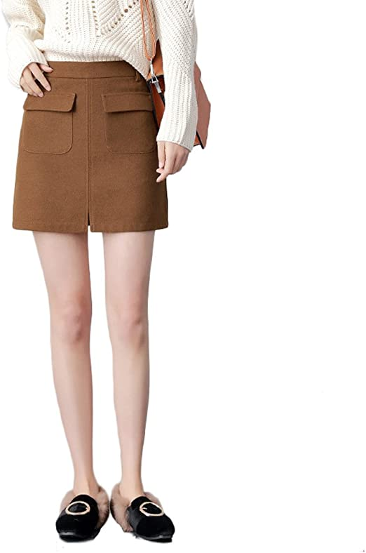 linsyt moda mujer Slim falda recta Talle Alto Invierno Hermoso ...