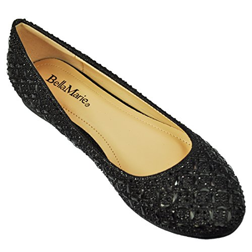 Women Fashion Rhinestone Glitter Flat Party Dress Ballet Shoes Deon 10 By Anna's Footwear Color Black Size 6