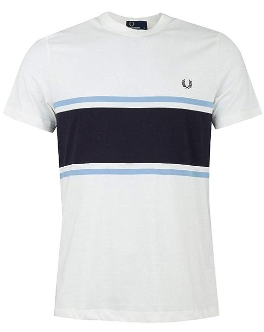 Fred Perry M5574 129 - Camiseta para Hombre, Color Blanco Blanco ...