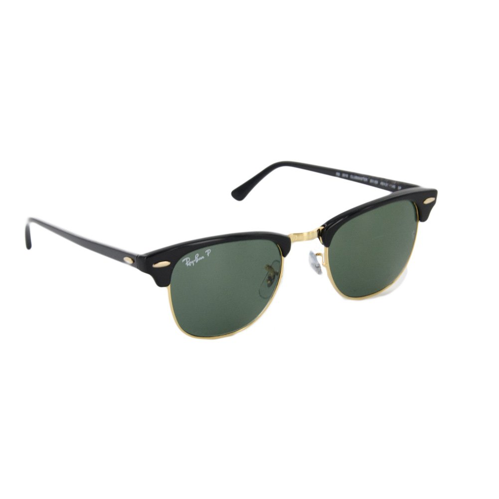 Ray-Ban Clubmaster Sunglasses with Frame & Green Classic G-15 Polarized Lenses, Black, 49-21-140