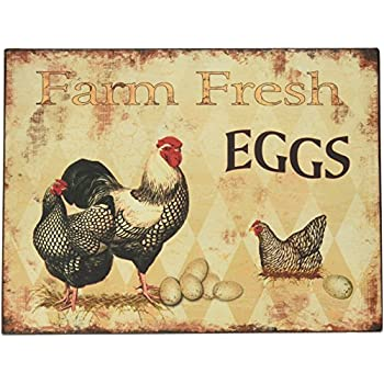 Amazon.com: Rooster Country Kitchen Wooden Wall Art Sign Farm Decor ...
