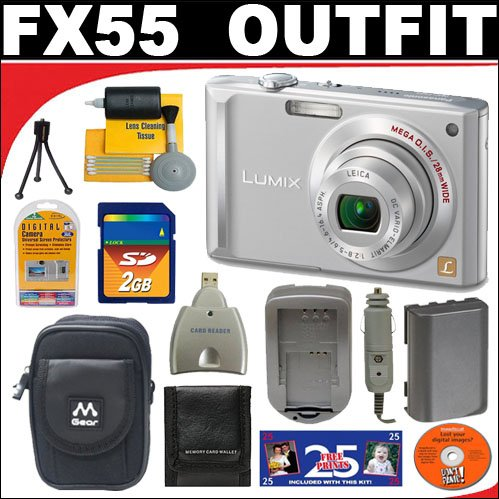 Panasonic Lumix DMC-FX55S 8.1MP Digital Camera with 2GB SD Card + Deluxe DB ROTH Accessory Kit ()