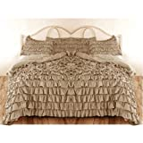 ARlinen 3 Pieces Waterfall Ruffle Duvet/Quilt Cover Set Unique Outlook with 1x Duvet Cover & 2x Pillowcase Combed Cotton Solid Color Ruffles Design, Soft and Comfortable,King/Cal-King Size, Taupe
