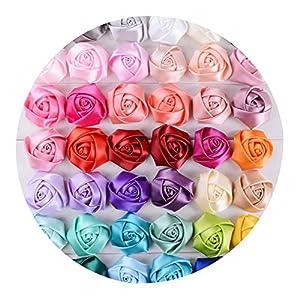5cm Satin Ribbon Silk Rose Flower Wedding Flower Bride Bouquet Boutonniere Headware Kids Hair Christmas Accessories C01,9 90