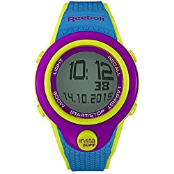 Reebok Pump InstaPump Digital Men's Chrono Watch Blue Green and Fuschia Purple RC-PIP-G9-PFPL-WB