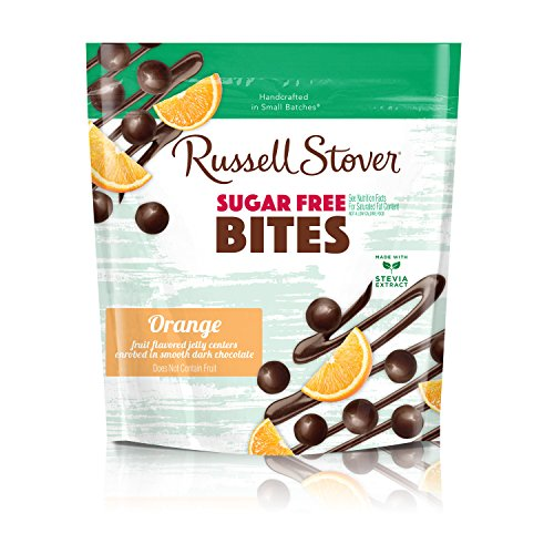 Russell Stover Sugar-Free Dark Chocolate Orange Bites 5 Ounce Bag Sugar-Free Candy, Dark Chocolate Candy Bag, Bite Sized Orange Bites Covered in Chocolate Candy Sweetened with Stevia ()