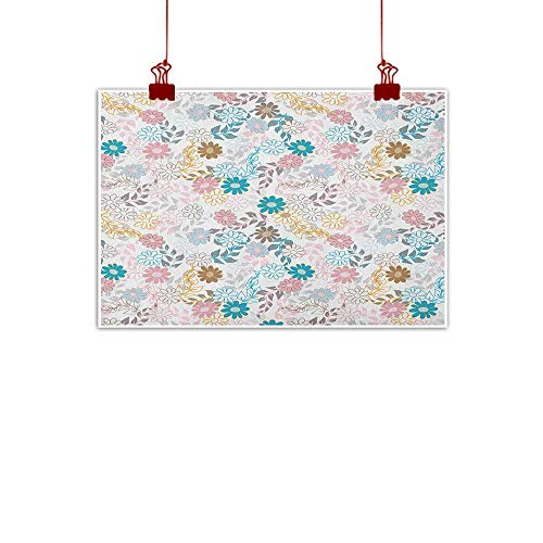 Anyangeight Fabric Cloth Rolled Floral,Cute Pastel Daisies and Leaves Blooming Retro Style Foliage Spring Color Palette, Multicolor 36