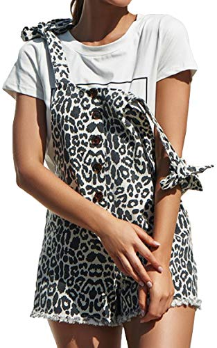 (ECOWISH Women Leopard Bib Overalls Sexy Strap Backless Summer Beach Romper Jumpsuit with Pockets Gray M)