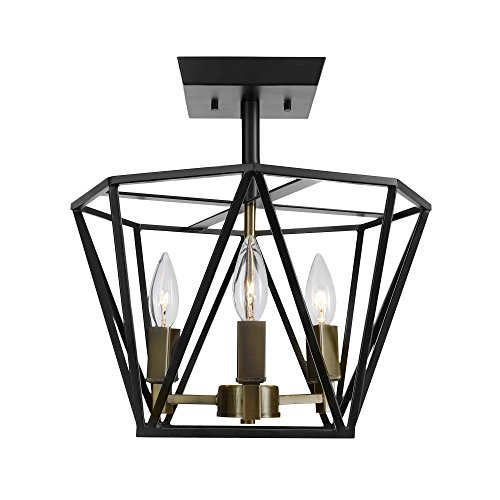 Globe Electric 65979 Sansa 3-Light Semi-Flush Mount, Dark Bronze