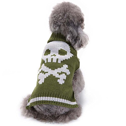 Puppy Clothes,2017 New Hot Sale Halloween Skeleton Grass Green Pet Dog Cute Clothes Puppy Winter Sweater by Neartime (XXL, Green) (Holograms Halloween Scary)