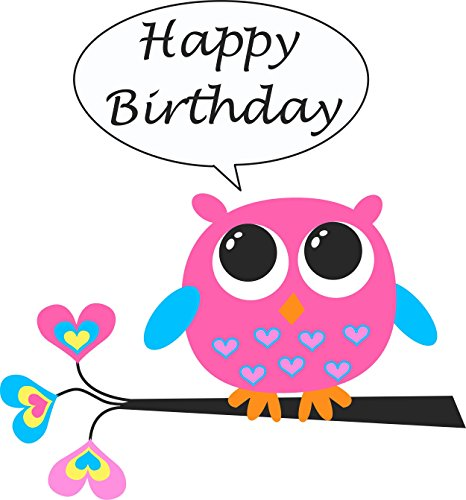 Owl Happy Birthday Edible Cake Image Topper 8 Inch Round -