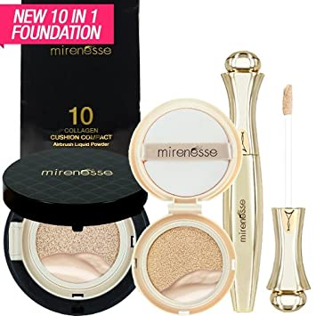 Amazon.com : WORLD LAUNCH:Mirenesse Cosmetics 10 Collagen Cushion Foundation Compact Airbrush Liquid Powder SPF25 PA++ 15g/0.52oz3 PIECE KIT - Shade 13.