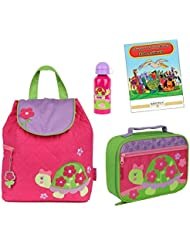 Stephen Joseph Quilted Backpack, Lunch Box, & Bottle Set