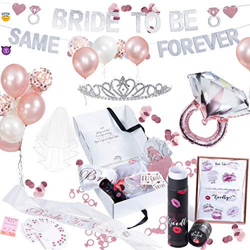 ViViD FunLab Bachelorette Party Decorations Kit | Bridal Shower Supplies | Bride to Be Sash, Veil, Tiara, Bride Tribe Tattoos | Rose Gold & Confetti Balloons, Glitter Banner, Bachelorette Party Games Daring Diamonds Diamond Ring