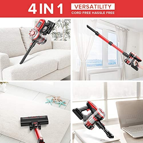 Cordless Vacuum Cleaner, 17Kpa Stick Vacuum Cleaner 4 in 1 Lightweight Handheld Vacuum Cleaner Wireless Vacuum Cleaners for Pet Hair Cleaning Home Hardwood Floor Carpet Hard Floor Tile Floors Car