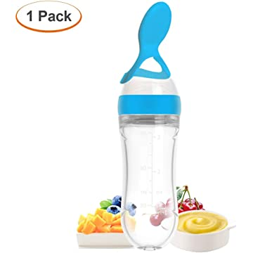 Silicone Squeeze Bottle Spoon - Baby Feeding Cereal, Rice, Juice, Infant Newborn Toddler Baby Food Dispensing Spoon- 90ml 1PC