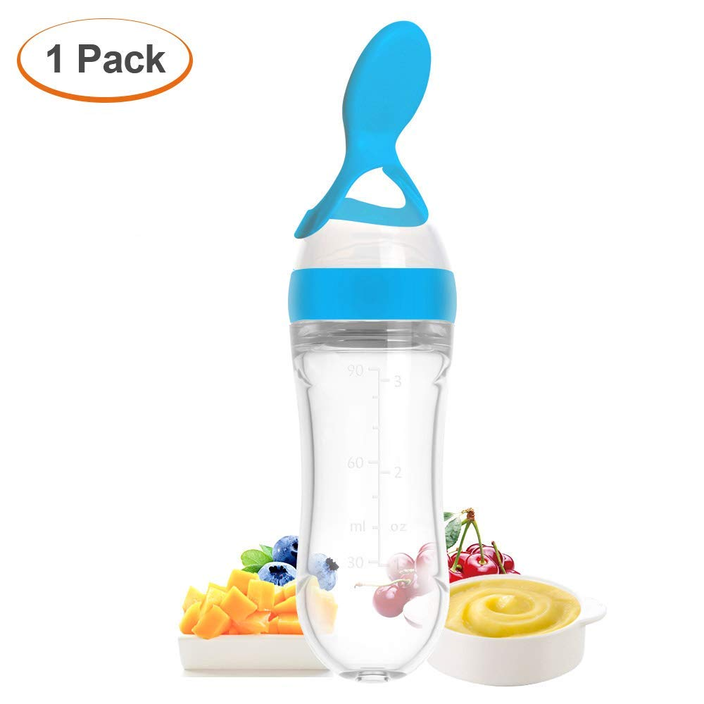 Silicone Squeeze Bottle Spoon - Baby Feeding Cereal, Rice, Juice, Infant Newborn Toddler Baby Food Dispensing Spoon- 90ml 1PC by Heauin (Image #1)