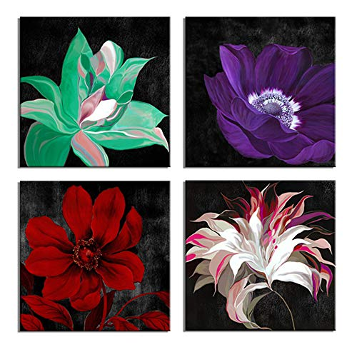 LKY ART Canvas Wall Art for Bedroom Multi-Color Flower Canvas Wall Art Painting Red Poppy White Lily Green Alstroemeria Purple Wall Art Black and Write Frame Easy to Hang (12x48inchTotal)