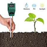 Soil pH Meter, Plant Tools 3-in-1 Accurate Portable Moisture Sensor Meter/Sunlight/pH Soil Test Kits, Energy-saving Gardening Tools for Home and Garden, Plants, Farm, Indoor and Outdoor Use