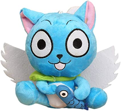 Cute Anime Fairy Tail Happy Stuffed Doll Blue Cat Cartoon Plush Toy Kids Gift