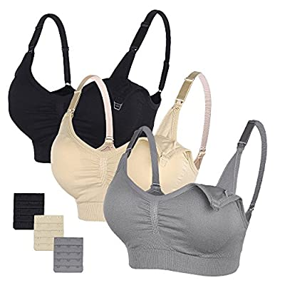 STELLE 3PACK Body Silk Seamless Maternity Nursing Bra With Pads, Extenders & Clips