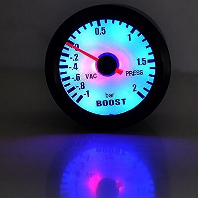 """ESUPPORT Car 2"""" 52mm Turbo Boost Gauge Meter Bar Pointer Blue LED Light: Automotive"""