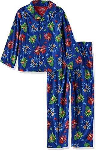 Pj Coat Set (Disney Junior PJ Masks Little Boys Flannel Coat Style Pajamas (4T, Hero Blue))