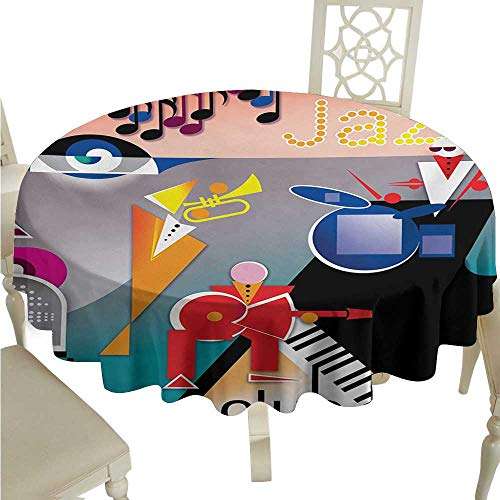 longbuyer Round Tablecloth Cotton Music,Band of Stick Figures Performing on an Abstract Piano Jazz Club with Notes Background,Multicolor D70,for Cards ()