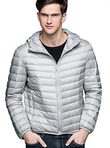 Jacket Puffer CHICK Down Sliver Weight Light Men's Hood Grey CHERRY with SYqdIq
