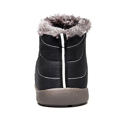 Damen Herren Winterschuhe Gefütterte Stiefelette - Unisex Schuhe Winter Stiefel Outdoor Slip on Komfort Boots Waterproof Schneestiefel Highdas Schwarz