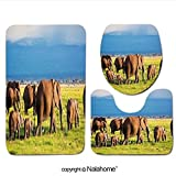 3 Piece Bath Rug Set Nalahome design-128193383 Elephants family and herd on Africa Bathroom Rug(15.7''x23.62'')/large Contour Mat(15.7''x15.7'')/Lid Cover(15.7''x16.9'')For Bathroom(yellow )
