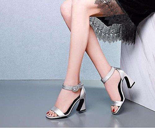 35 8cm Tacones seis cuadradas tacones Zapatos Sandalias mujer Moda Silver altos AJUNR Cabezas Transpirable Treinta Diamante y Hebillas de elegante qzAxHxR