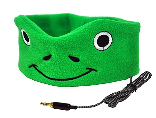 CozyPhones Kids Headband Headphones - Super Comfortable Soft Fleece Headphones for Children. Perfect for Travel and Home - GREEN FROGGY