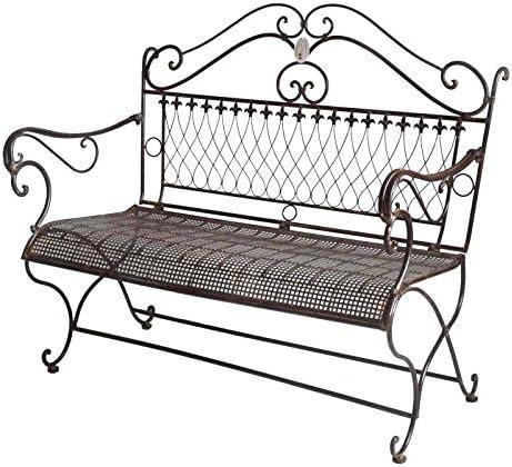 Banco de jardín – Banqueta 2 Plazas silla asiento exterieure (hierro marrón 64 x 100 x 110 cm: Amazon.es: Jardín