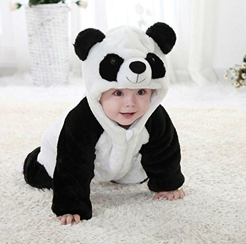 KONFA Toddler Baby Girls Boys Cute Cartoon Panda Hooded Jumpsuits,Suitable For 0-24 Months,Cosplay Romper Clothes
