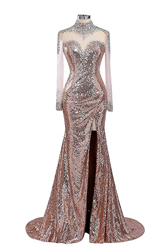 Prom High Women's Dresses Evening with Neck Gowns Sequin Gold Fanciest Sleeves Long wRZzUwq