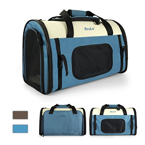 Becko Expandable Foldable Pet Carrier Travel Handbag with Padding and Extension (Blue) by Becko (Image #4)