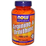 Now Foods Arginine & Ornithine 500/250mg - 250 Caps 5 Pack
