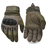 Military Hard Knuckle Tactical Gloves Motorcycle Gloves Motorbike ATV Riding Army Combat Full Finger Gloves for Men Airsoft Paintball Army Green Large