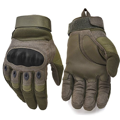 Military Hard Knuckle Tactical Gloves Motorcycle Gloves Motorbike ATV Riding Army Combat Full Finger Gloves for Men Airsoft Paintball Army Green (Glove Gun)
