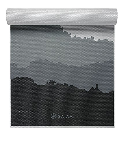 Gaiam Premium Print Yoga Mat, Granite Mountains, 5/6mm