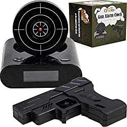 CREATOV DESIGN Target Alarm Clock with Gun - Infrared Target and Realistic Loud Sound Effects Fun Pistol Game Clocks for Heavy Sleepers Kids Boys & Girls Infrared 0.8 MW Black