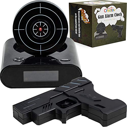 Target Alarm Clock with Gun - Infrared Target and Realistic Loud Sound Effects Fun Pistol Game Clocks for Heavy Sleepers Kids Boys & Girls Infrared 0.8 MW Camouflage Black by ()