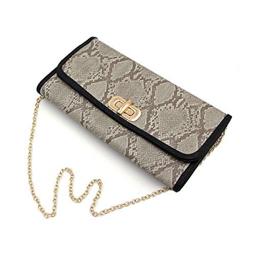 Premium Snakeskin PU Leather Turnlock Flap Handbag Clutch Bag, (Snakeskin Flap Clutch)
