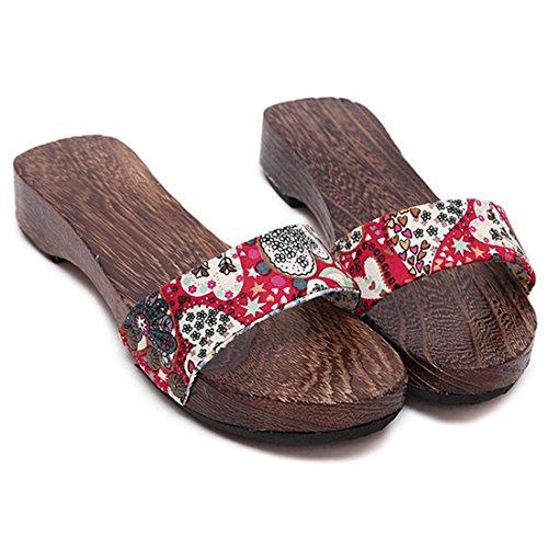 Pantofole Jiyaru Donna In Legno Geta Zoccoli Scarpe Sandali Scarpe Giapponesi Rosse