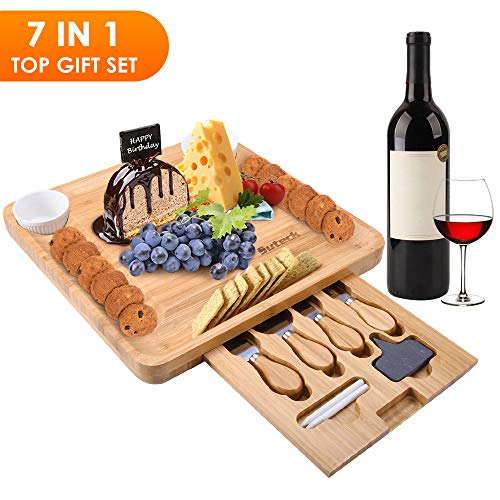 Cheese Charcuterie Board Set Bamboo Cheeseboard With 2 Ceramic Bowls - 4Pcs Stainless Cutlery Large Cutter Boards Serving Platter Tray for Picnic Including - 2 Slate Labels Chalk - Toscana Wine French