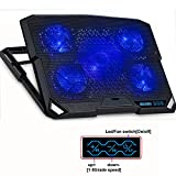 ThreeLeaf@200K2 13-16inch Cooling Pad for Laptop (Lap Use Thin 5Levels Stands, Power/LED Switch, Battery Saving Dim-speed Set) 5Fans