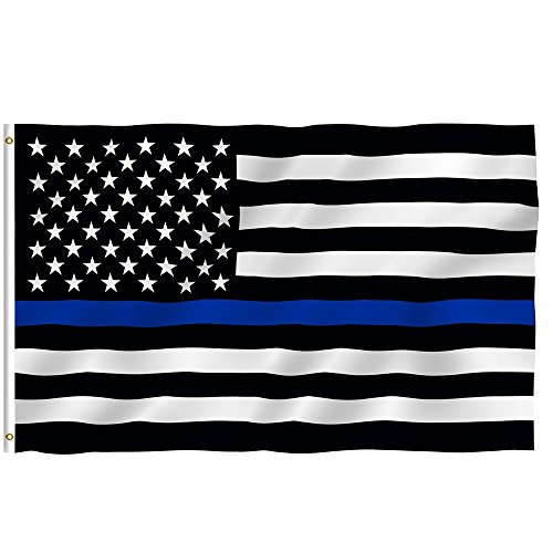 Balight Thin Blue Line Flag 3 By 5 Foot Honoring Our Men And Women Of Law Enforcement, 2 Brass Grommets Black& White & Blue American Flag