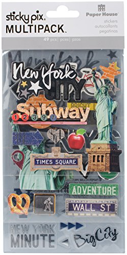 New York Mixed Sticker Pack - 3 Sheets of Stickers (New York Scrapbooking)
